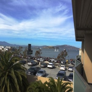 View from our room, over looking the courtyard and parking garage to the Bay.