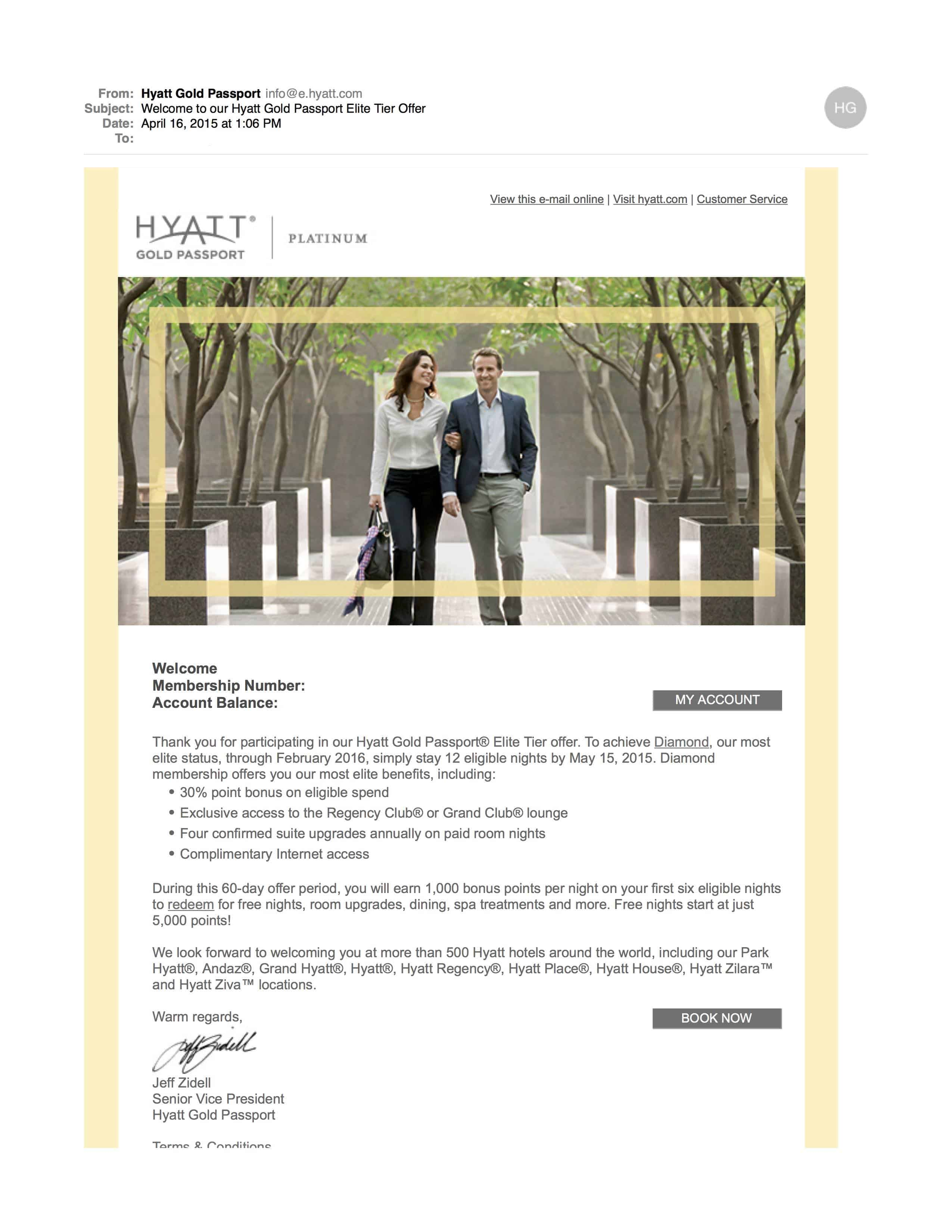 Hyatt Gold Passport Diamond Challenge