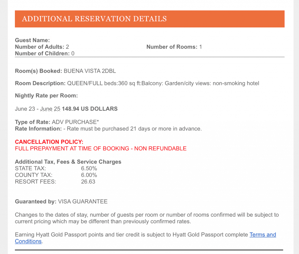 Fee for Hyatt Diamond Suite Upgrade