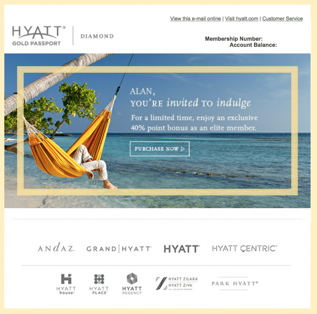 Hyatt Gold Passport Point Sale