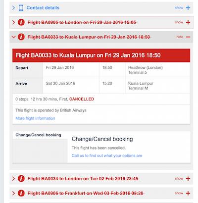 British Airways ticket canceled