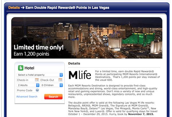 Southwest Rapid Rewards and Mlife Vegas