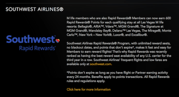 Southwest Rapid Rewards and Mlife Vegas