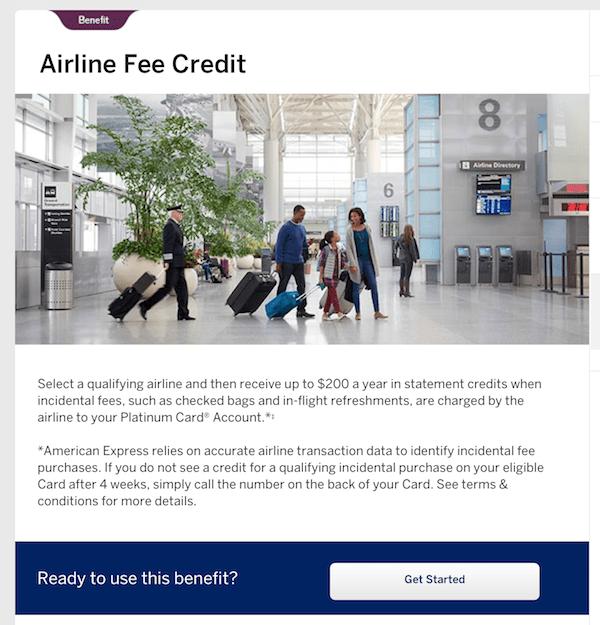 Amex Platinum Airline Fee Reimbursement