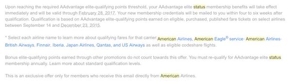 Problems achieving American Platinum status