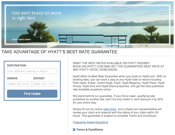 Hyatt Best Rate Guarantee Change