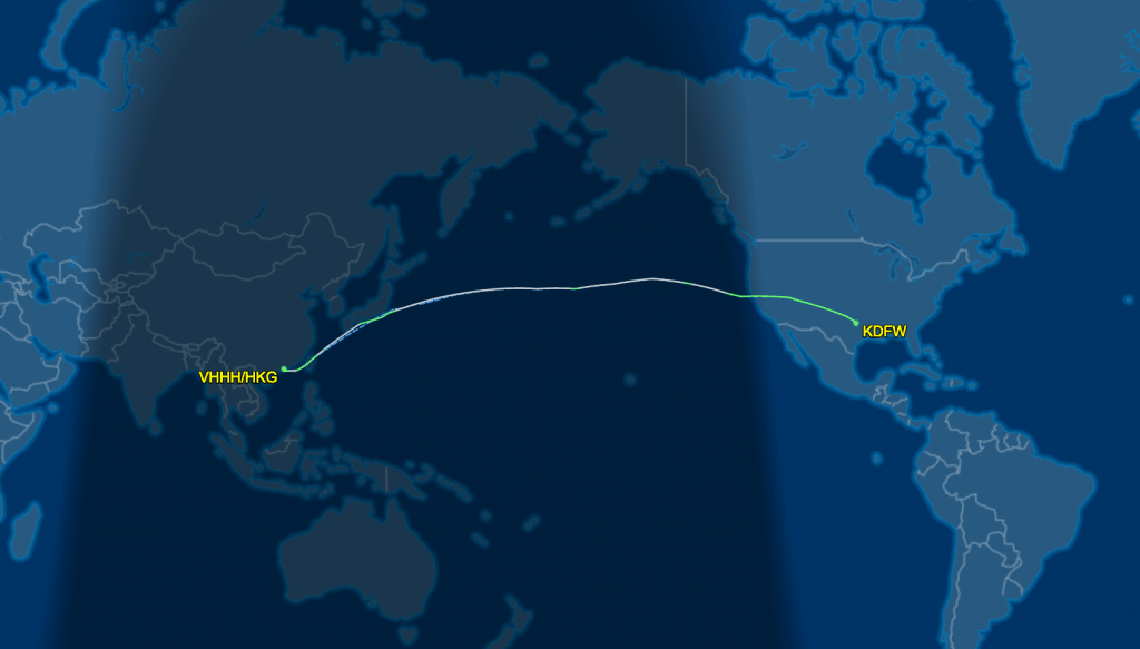 AA Mileage Run SEA-DFW-HKG
