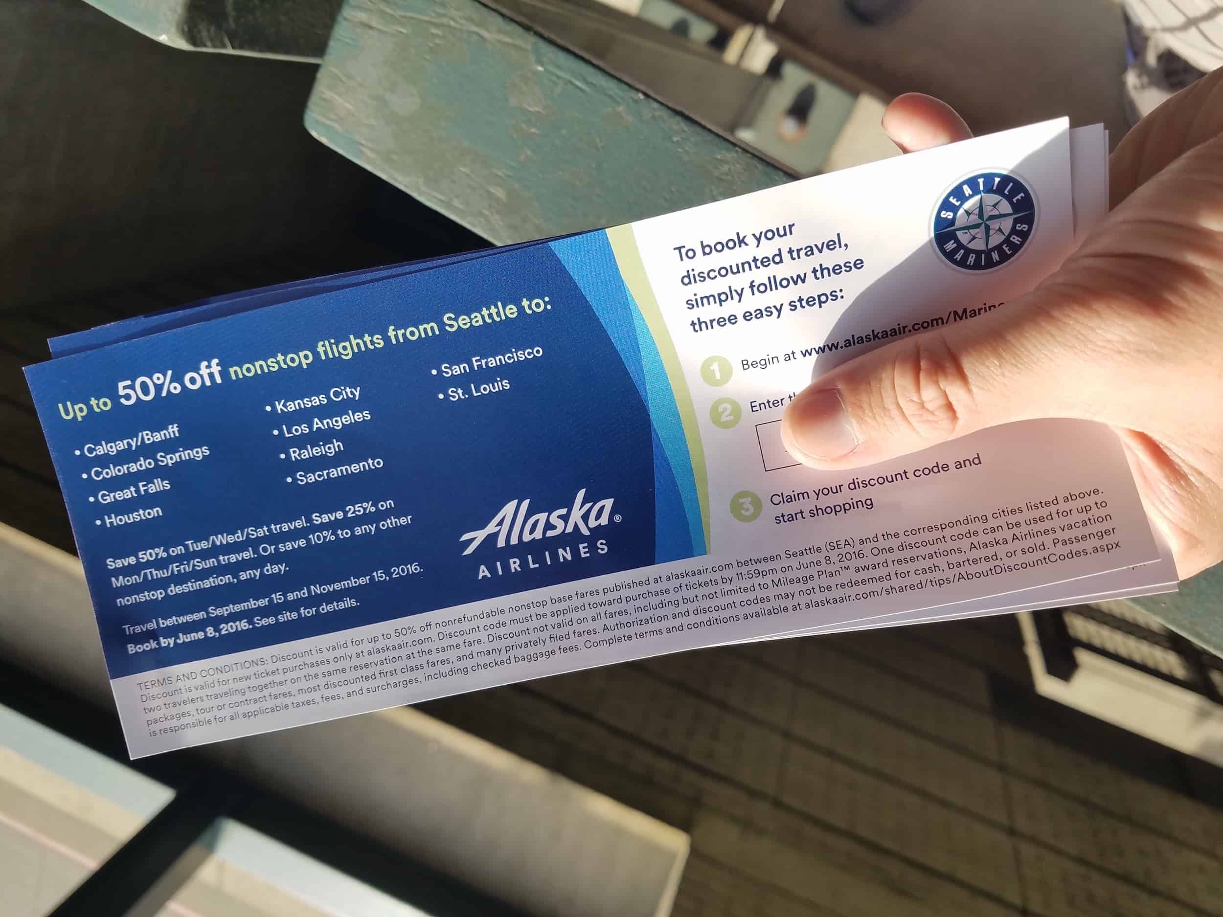 Seattle Mariners Alaska Airlines Voucher Singleflyer