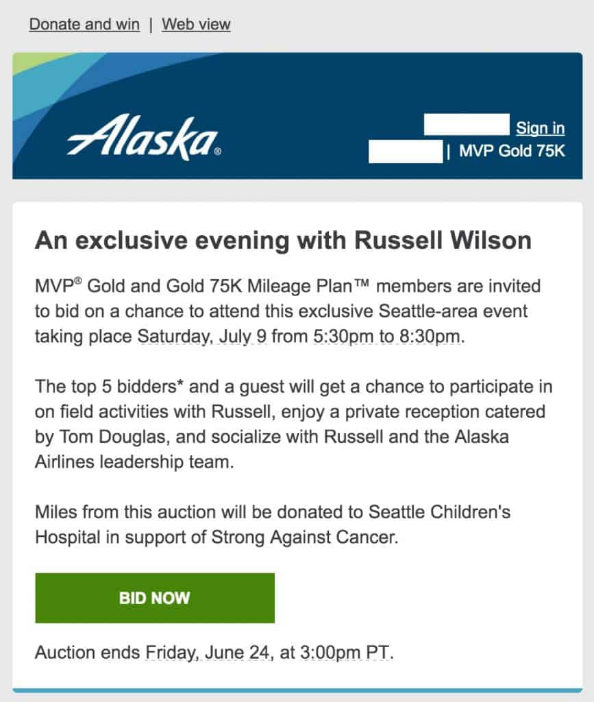 Alaska Airlines Russell Wilson Auction