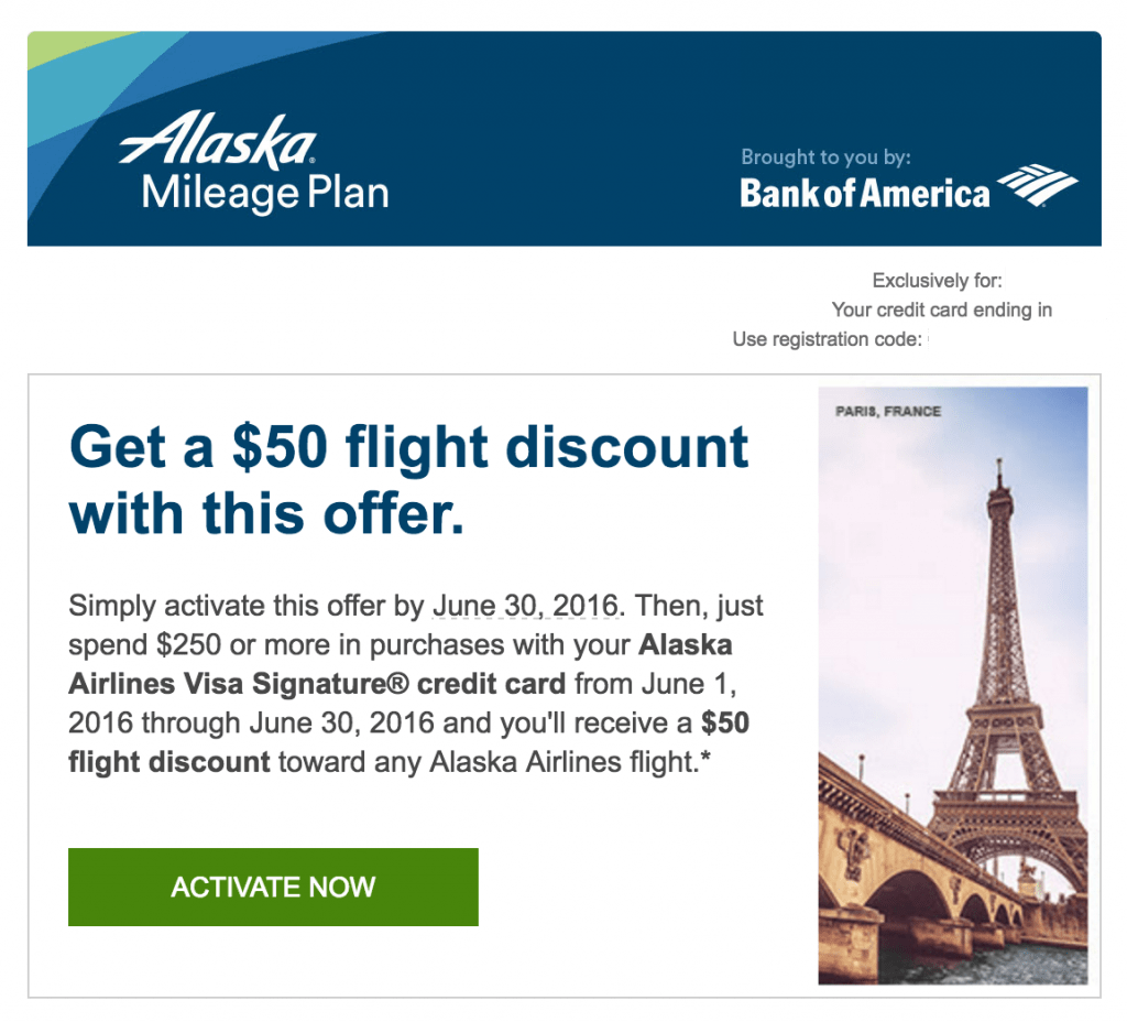 Alaska Airlines Visa flight discount bonus offer