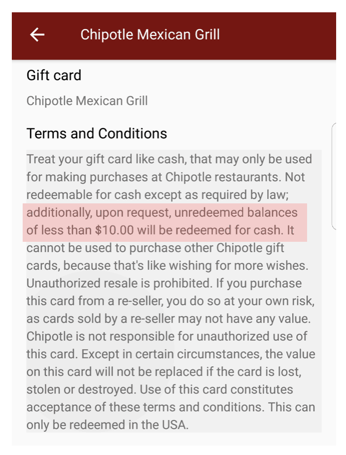 Gift Card Cash Back Laws